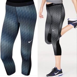 NEW Nike Pro Cool Stairstep Blue Stripe Leggings S